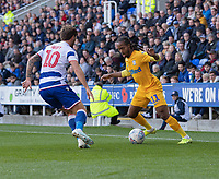 Preston North End's Daniel Johnson (right) battles with Reading's John Swift (left) <br /> <br /> Photographer David Horton/CameraSport<br /> <br /> The EFL Sky Bet Championship - Reading v Preston North End - Saturday 19th October 2019 - Madejski Stadium - Reading<br /> <br /> World Copyright © 2019 CameraSport. All rights reserved. 43 Linden Ave. Countesthorpe. Leicester. England. LE8 5PG - Tel: +44 (0) 116 277 4147 - admin@camerasport.com - www.camerasport.com