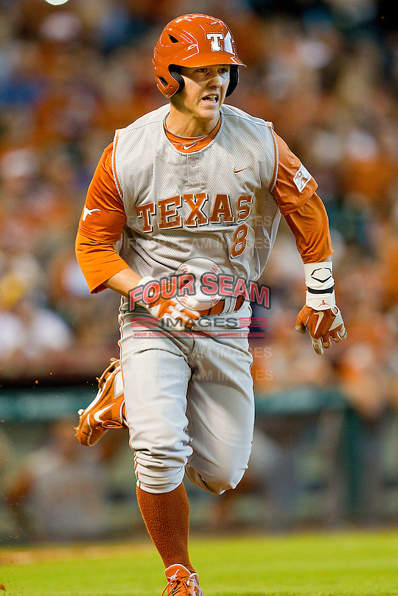 Brooks Marlow #8 of the Texas Longhorns hustles down the first base line against the Tennessee Volunteers at Minute Maid Park on March 3, 2012 in Houston, Texas.  The Volunteers defeated the Longhorns 5-4.  (Brian Westerholt/Four Seam Images)