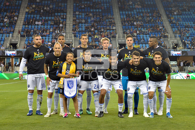 San Jose, CA - Wednesday September 19, 2018: San Jose Earthquakes Starting Eleven, Kick Childhood Cancer prior to a Major League Soccer (MLS) match between the San Jose Earthquakes and Atlanta United FC at Avaya Stadium.