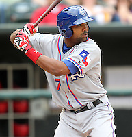 Round Rock Express outfielder Joey Butler #17 at bat during a game versus the Memphis Redbirds at Autozone Park on April 30, 2011 in Memphis, Tennessee.  Memphis defeated Round Rock by the score of 10-7.  Photo By Mike Janes/Four Seam Images