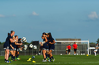 Sky Blue FC players during warmups. Sky Blue FC defeated the Washington Spirit 1-0 during a National Women's Soccer League (NWSL) match at Yurcak Field in Piscataway, NJ, on July 6, 2013.