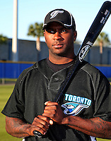 March 1, 2010:  Outfielder Joey Gathright (1) of the Toronto Blue Jays poses for a photo during media day at Englebert Complex in Dunedin, FL.  Photo By Mike Janes/Four Seam Images