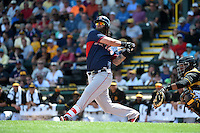 Boston Red Sox first baseman Mike Napoli (12) during a Spring Training game against the Pittsburgh Pirates on March 12, 2015 at McKechnie Field in Bradenton, Florida.  Boston defeated Pittsburgh 5-1.  (Mike Janes/Four Seam Images)