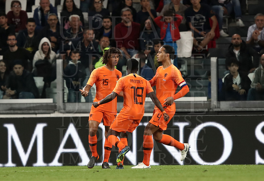 International friendly football match Italy vs The Netherlands, Allianz Stadium, Turin, Italy, June 4, 2018. <br /> Netherlands' Nathan Ak&eacute; (l) celebrates with his teammates after scoring during the international friendly football match between Italy and The Netherlands at the Allianz Stadium in Turin on June 4, 2018.<br /> UPDATE IMAGES PRESS/Isabella Bonotto