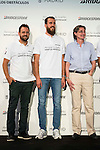 "Basketball announcer David Carnicero, Philadelphia 76ers basketball player Sergio Rodriguez and acting mayor Marta Higueras during the event ""Reta a tu idolo"" at Plaza Mayor in Madrid. September 12, Spain. 2016. (ALTERPHOTOS/BorjaB.Hojas)"