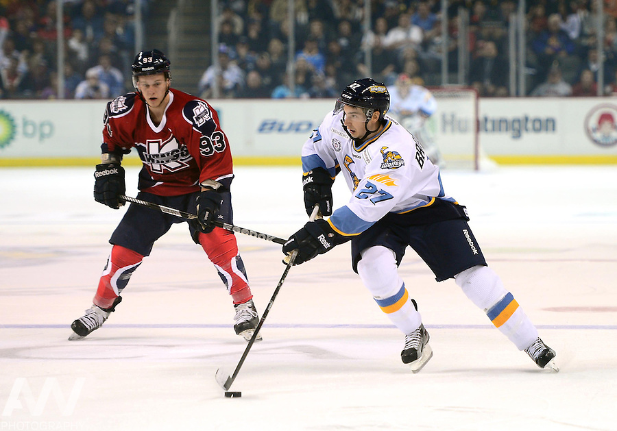 Oct 13, 2012; Toledo, OH, USA; Toledo Walleye left wing Terry Broadhurst (27) against the Kalamazoo Wings at Huntington Center: Mandatory Credit: Andrew Weber