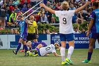 Allston, MA - Sunday July 31, 2016: Kaylyn Kyle, Louise Schillgard during a regular season National Women's Soccer League (NWSL) match between the Boston Breakers and the Orlando Pride at Jordan Field.