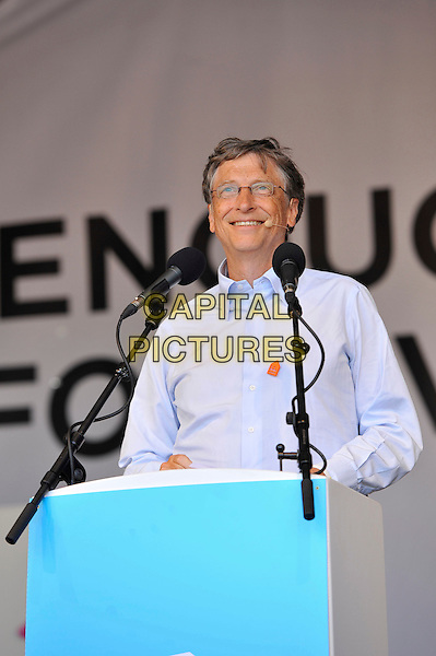Bill Gates<br /> attending The Big IF, Hyde Park, London, England. <br /> 8th June 2013<br /> half length blue shirt glasses on stage podium speech <br /> CAP/MAR<br /> &copy; Martin Harris/Capital Pictures