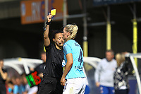 Gemma Bonner of Manchester City Women receives a yellow card from Referee Rebecca Welch during Chelsea Women vs Manchester City Women, FA Women's Super League FA WSL1 Football at Kingsmeadow on 9th September 2018