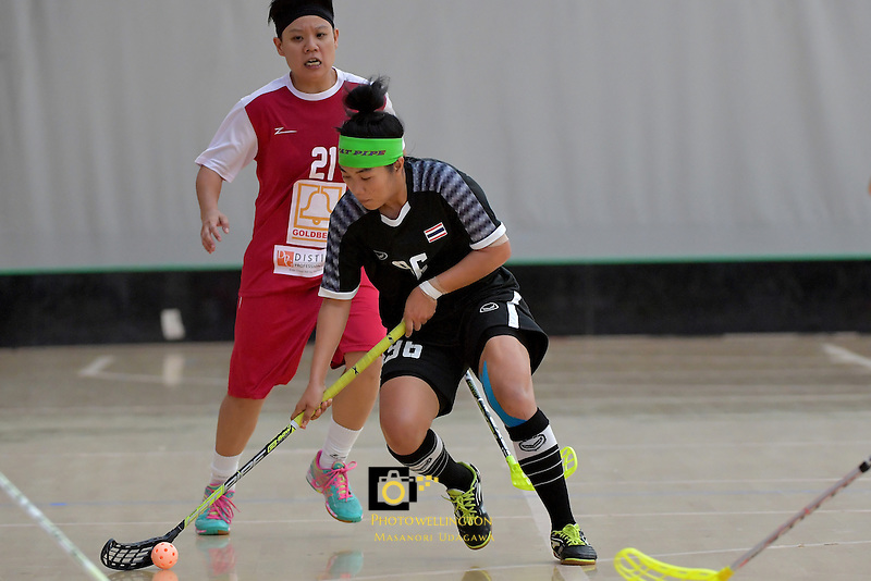 Thailand's Kanya Jantapet in action during the World Floorball Championships 2017 Qualification for Asia Oceania Region - Singapore v Thailand at ASB Sports Centre , Wellington, New Zealand on Sunday 5 February 2017.<br /> Photo by Masanori Udagawa<br /> www.photowellington.photoshelter.com.