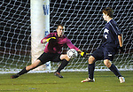 (Worcester Ma 111613) Medway goalie Michael Bagdon, can't stop this shot by   Belchertown 3,  Cameron Messier, for the winning goal,  during the MIAA Division Three Boys Soccer Final between Belchertown High and Medway High, Saturday night at Foley Field in Worcester. (Jim Michaud Photo) For Sunday