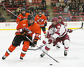 Ben Foster (Princeton - 22), Mike Seward (Harvard - 18) - The Harvard University Crimson defeated the visiting Princeton University Tigers 5-0 on Harvard's senior night on Saturday, February 28, 2015, at Bright-Landry Hockey Center in Boston, Massachusetts.