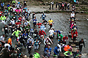 04/11/12 ..The majority of runners make their way through freezing water next to the stepping stones crossing on the river dove near Ashbourne, Derbyshire as they race in today's Dovedale Dash which saw nearly 1,500 runners tackle the arduous 4¾ mile cross country course in The Peak District...All Rights Reserved - F Stop Press.  www.fstoppress.com. Tel: +44 (0)1335 300098.