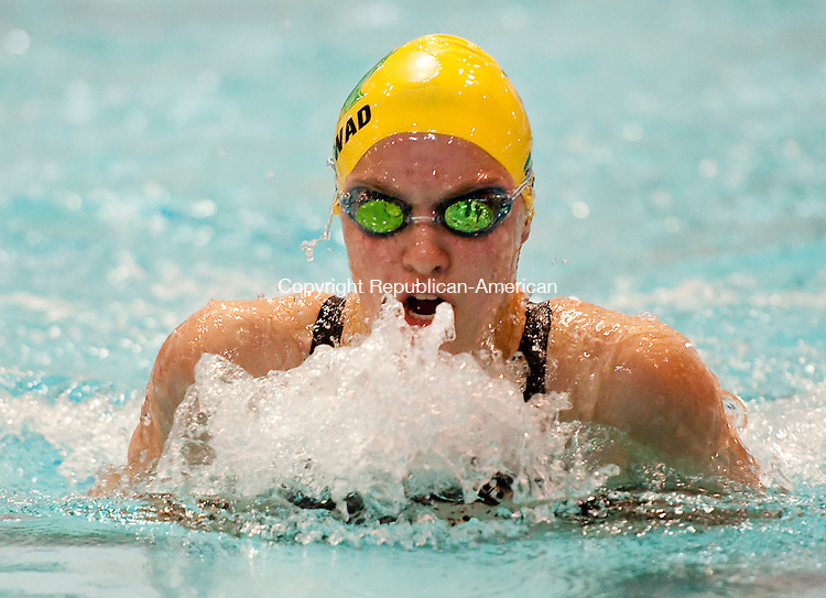 MIDDLETOWN,  CT-111616JS16-Holy Cross' Madelynn Mowad competes in the 100 Yard Breaststroke during the Class S Swimming championships Wednesday at Wesleyan University in Middletown. <br /> Jim Shannon Republican American