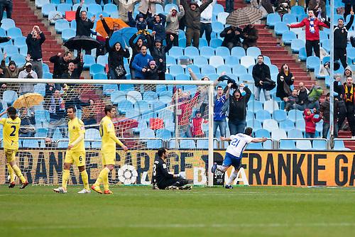 04.03.2012, Zaragoza,Spain, Real Zaragoza 2 - 1 Villarreal, Real Zaragozas  Abraham celebrates a goal during the Spanish League match played between Real Zaragoza and Villarreal at La Romareda Stadium.