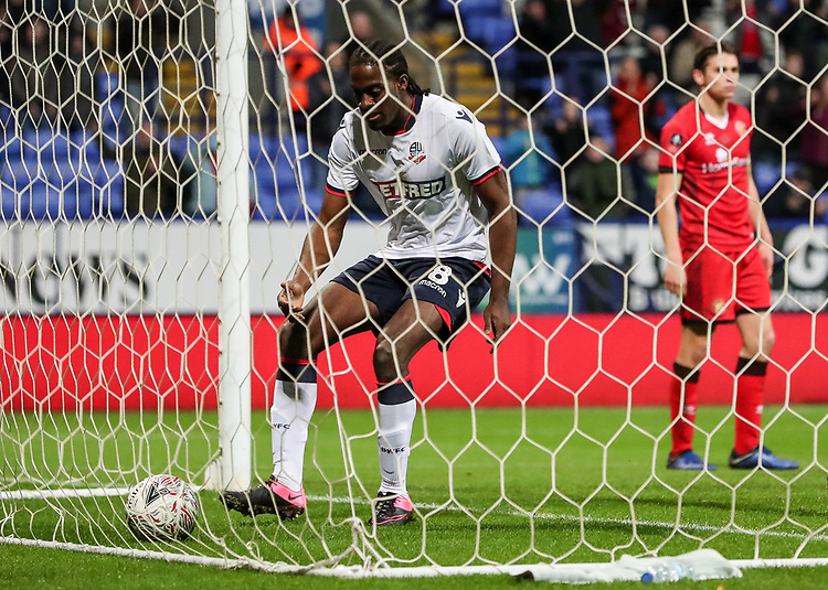 Bolton Wanderers' Clayton Donaldson retrieves the ball from the back of the net after scoring his side's first goal<br /> <br /> Photographer Andrew Kearns/CameraSport<br /> <br /> Emirates FA Cup Third Round - Bolton Wanderers v Walsall - Saturday 5th January 2019 - University of Bolton Stadium - Bolton<br />  <br /> World Copyright © 2019 CameraSport. All rights reserved. 43 Linden Ave. Countesthorpe. Leicester. England. LE8 5PG - Tel: +44 (0) 116 277 4147 - admin@camerasport.com - www.camerasport.com