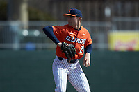 Illinois Fighting Illini starting pitcher Cole Kirschsieper (27) in action against the West Virginia Mountaineers at TicketReturn.com Field at Pelicans Ballpark on February 23, 2020 in Myrtle Beach, South Carolina. The Fighting Illini defeated the Mountaineers 2-1.  (Brian Westerholt/Four Seam Images)