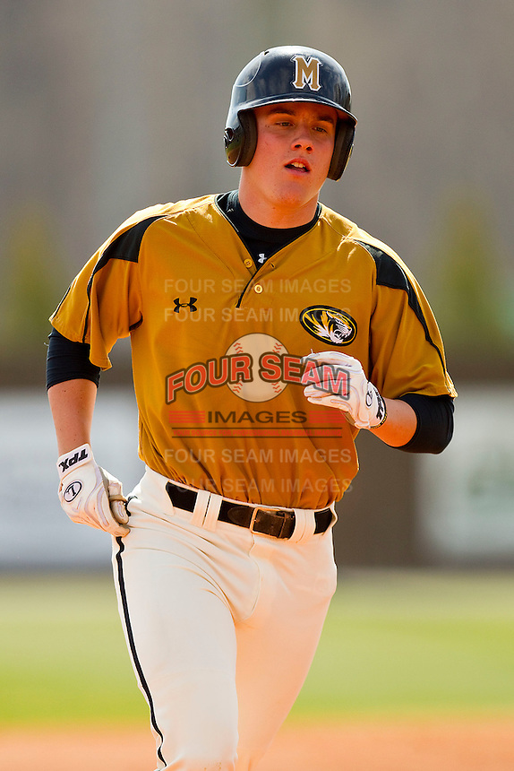 Scott Sommerfeld #49 of the Missouri Tigers rounds the bases after hitting a home run against the Charlotte 49ers at Robert and Mariam Hayes Stadium on February 27, 2011 in Charlotte, North Carolina.  Photo by Brian Westerholt / Four Seam Images