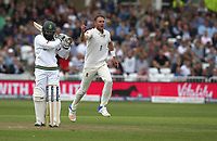 England's Stuart Broad celebrates taking the wicket of South Africa's Hashim Amla (left)<br /> <br /> Photographer Stephen White/CameraSport<br /> <br /> Investec Test Series 2017 - Second Test - England v South Africa - Day 1 - Friday 14th July 2017 - Trent Bridge - Nottingham<br /> <br /> World Copyright &copy; 2017 CameraSport. All rights reserved. 43 Linden Ave. Countesthorpe. Leicester. England. LE8 5PG - Tel: +44 (0) 116 277 4147 - admin@camerasport.com - www.camerasport.com