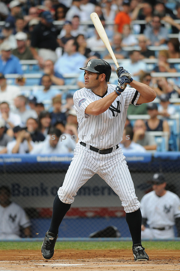 JOHNNY DAMON, of the New York Yankees  in action against the Minnesota Twins  during the Yankees game in New York, New York on July 23,  2008... The Yankees won the game 12-4