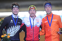 SPEEDSKATING: BERLIN: Sportforum Berlin, 28-01-2017, ISU World Cup, Podium 5000m Men A Division, Peter Michael (NZL), Ted-Jan Bloemen (CAN), Jorrit Bergsma (NED), ©photo Martin de Jong
