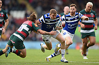 Ruaridh McConnochie of Bath Rugby takes on the Leicester Tigers defence. Gallagher Premiership match, between Leicester Tigers and Bath Rugby on May 18, 2019 at Welford Road in Leicester, England. Photo by: Patrick Khachfe / Onside Images