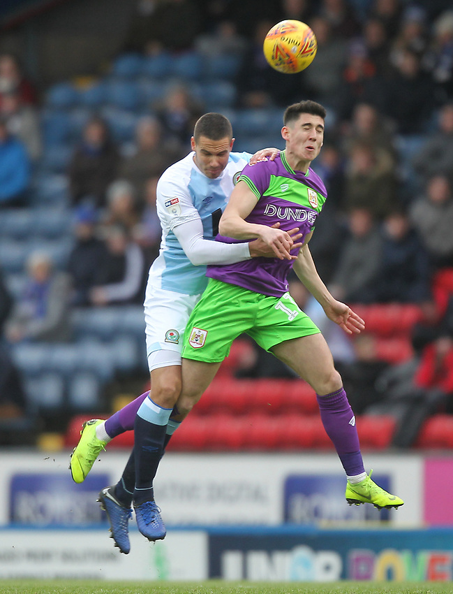 Blackburn Rovers Jack Rodwell jumps with Bristol City's Lloyd Kelly<br /> <br /> Photographer Mick Walker/CameraSport<br /> <br /> The EFL Sky Bet Championship - Blackburn Rovers v Bristol City - Saturday 9th February 2019 - Ewood Park - Blackburn<br /> <br /> World Copyright © 2019 CameraSport. All rights reserved. 43 Linden Ave. Countesthorpe. Leicester. England. LE8 5PG - Tel: +44 (0) 116 277 4147 - admin@camerasport.com - www.camerasport.com