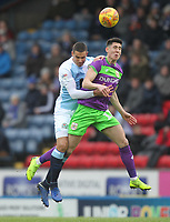 Blackburn Rovers Jack Rodwell jumps with Bristol City's Lloyd Kelly<br /> <br /> Photographer Mick Walker/CameraSport<br /> <br /> The EFL Sky Bet Championship - Blackburn Rovers v Bristol City - Saturday 9th February 2019 - Ewood Park - Blackburn<br /> <br /> World Copyright &copy; 2019 CameraSport. All rights reserved. 43 Linden Ave. Countesthorpe. Leicester. England. LE8 5PG - Tel: +44 (0) 116 277 4147 - admin@camerasport.com - www.camerasport.com