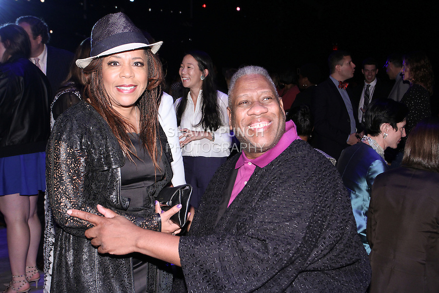 Valorie Simpson and Andre Leon Talley posing together at the b michael AMERICA Couture Spring 2015 fashion show during Mercedes-Benz Fashion Week Spring 2015 in New York City.