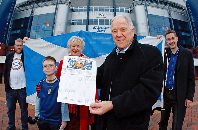 Ex-Scotland manager Craig Brown at Hampden this afternoon to launch the Save Scotland's Football team campaign with MSP Christine Grahame, 10 year old Scotland Fan Adam Hirst and tartan army members Tam Coyle and Malcolm Fleming