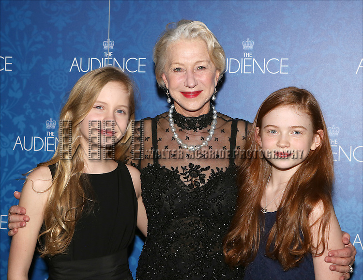 Elizabeth Teeter, Helen Mirren and Sadie Sink attend the opening night after party for the Broadway Opening of 'The Audience' at Urbo NYC on March 8, 2015 in New York City.