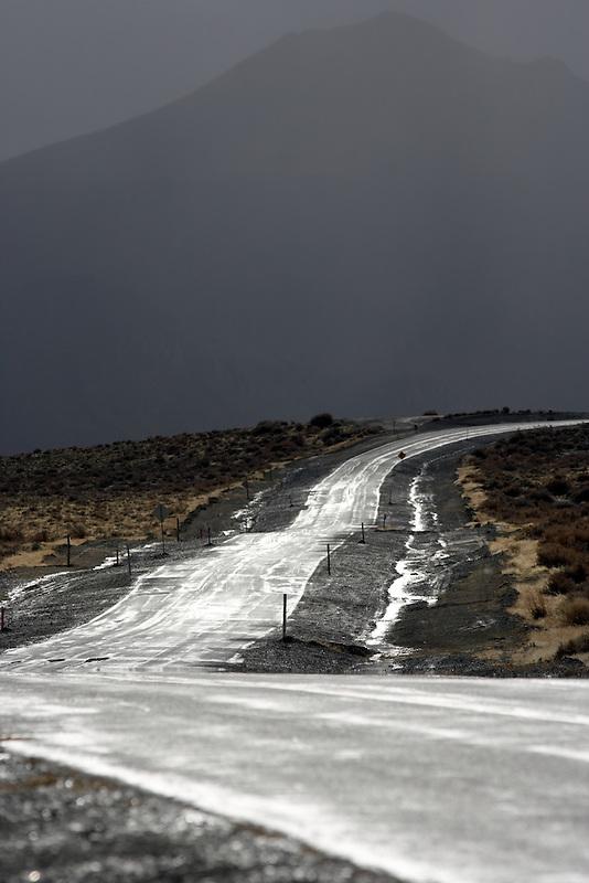 Road after rain storm in Black Rock Desert National Conservation Area. Nevada