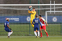 AS Monaco goalkeeper, Yanis Henin, safely catches the ball during Chelsea Under-19 vs AS Monaco Under-19, UEFA Youth League Football at the Cobham Training Ground on 19th February 2019