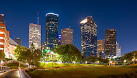 Another pano capture of the Houston Bagby to Sabine pedestrian bridge with the Houston skyline in downtown area after dark.  This is a popular place for walking and biking in the city and the pedestrian bridge is an easy route over the waters of Buffalo Bayou it is also well lit as you can see along the trails in the city.