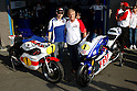 June 25, 2010 - Assen, Holland - Jorge Lorenzo (L) and Giacomo Agostini pose for the photographs during the Duch Grand Prix at Assen, Holland, on June 25, 2010. (Photo Andrew Northcott/Nippon News).