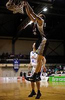 Hawks import Jon Rogers slamdunks. NBL Semifinal - Wellington Saints v Bay Hawks at TSB Bank Arena, Wellington on Friday, 25 June 2010. Photo: Dave Lintott/lintottphoto.co.nz