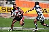 Prop forward Simon Lemalu tries to step back inside Ash Moeke. Air New Zealand Cup Rugby game between Counties Manukau & Auckland played at Eden Park Auckland on Sunday October 18th 2009..Auckland won the game 37 - 14.