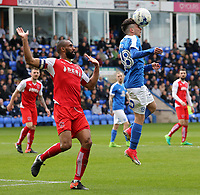 Peterborough United's Andrea Borg heads clear from Fleetwood Town's Nathan Pond<br /> <br /> Photographer David Shipman/CameraSport<br /> <br /> The EFL Sky Bet League One - Peterborough United v Fleetwood Town - Friday 14th April 2016 - ABAX Stadium  - Peterborough<br /> <br /> World Copyright &copy; 2017 CameraSport. All rights reserved. 43 Linden Ave. Countesthorpe. Leicester. England. LE8 5PG - Tel: +44 (0) 116 277 4147 - admin@camerasport.com - www.camerasport.com