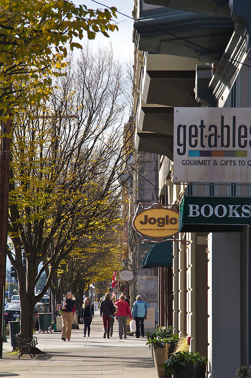 Port Townsend, Water Street, stores line historical district, Jefferson County, Olympic Peninsula, Washington State, Port Townsend Historic District, shopping,
