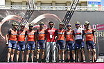 Bahrain-Merida team on stage at sign on before Stage 20 of the 100th edition of the Giro d'Italia 2017, running 190km from Pordenone to Asiago, Italy. 27th May 2017.<br /> Picture: LaPresse/Fabio Ferrari | Cyclefile<br /> <br /> <br /> All photos usage must carry mandatory copyright credit (&copy; Cyclefile | LaPresse/Fabio Ferrari)