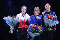 SHORT TRACK: ROTTERDAM: Ahoy, 12-03-2017, KPN ISU World Short Track Championships 2017, Podium Overall Classification Ladies, Marianne St-Gelais (CAN), Elise Christie (GBR), Suk Hee Shim (KOR), ©photo Martin de Jong