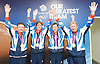 Olympics London 2012<br /> Equestrian <br /> Men's Show Jumping <br /> GOLD medalists<br /> 7th August 2012 <br /> Press Conference<br />  <br />  Nick Skelton, Ben Maher, Scott Brash and Pete Charles<br /> <br /> <br /> Photograph by Elliott Franks