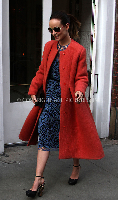 WWW.ACEPIXS.COM....February 14 2013, New York City....Actress Olivia Wilde leaves ABC Kitchen on February 14 2013 in New York City......By Line: Zelig Shaul/ACE Pictures......ACE Pictures, Inc...tel: 646 769 0430..Email: info@acepixs.com..www.acepixs.com