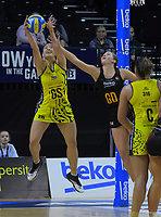 Saviour Tui takes a pass under pressure during the Beko Netball League match between Central Manawa and Waikato Bay Of Plenty at TSB Bank Arena in Wellington, New Zealand on Sunday, 21 April 2019. Photo: Dave Lintott / lintottphoto.co.nz