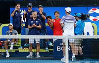 8th January 2020; RAC Arena, Perth, Western Australia; ATP Cup Australia, Perth, Day 6; Spain versus Japan; Team Japan applauds Go Soeda - Editorial Use