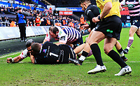 Cardiff Blues' Nick Williams scores his side's first try.<br /> <br /> Photographer Dan Minto/CameraSport<br /> <br /> European Rugby Challenge Cup Pool 2 - Cardiff Blues v Sale Sharks - Sunday 17 December 2017 - Cardiff Arms Park - Cardiff<br /> <br /> World Copyright &copy; 2017 CameraSport. All rights reserved. 43 Linden Ave. Countesthorpe. Leicester. England. LE8 5PG - Tel: +44 (0) 116 277 4147 - admin@camerasport.com - www.camerasport.com