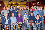 Prize night<br /> ---------------<br /> Brendan Barrett, 3rd Rt, holds the All Ireland Minor Final winning cup along with the Ardfert senior football team who won Div4 county league also this year at a medal presentation in the Abbey Tavern, Ardfert last Saturday night.