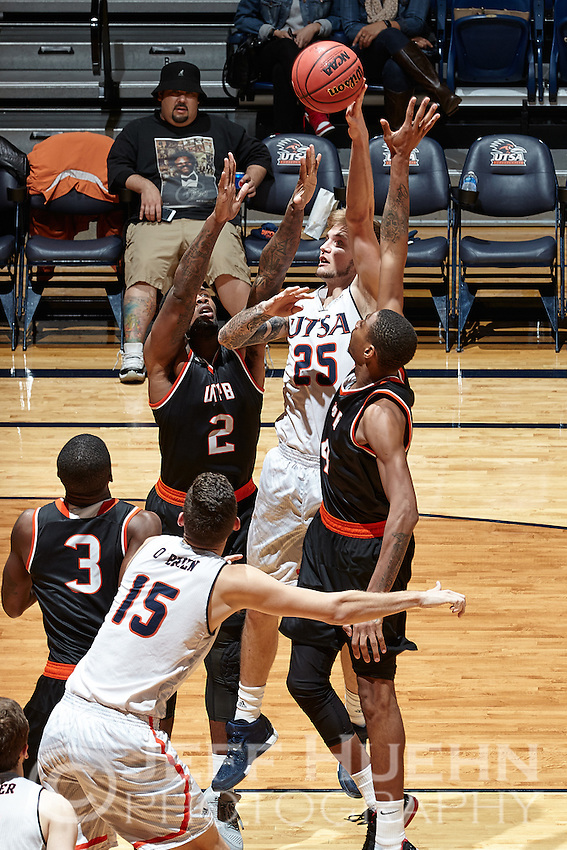 SAN ANTONIO, TX - NOVEMBER 29, 2015: The University of Texas of the Permian Basin Falcons defeat the University of Texas at San Antonio Roadrunners 90-85 at the UTSA Convocation Center. (Photo by Jeff Huehn)
