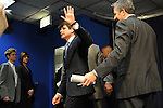 Illinois Governor Rod Blagojevich waves to the press after his announcement of Roland Burris as Barack Obama's replacement to the U.S. Senate in the Thompson Center in Chicago, Illinois on December 30, 2008.