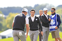 Rory McIlroy (NIR) Team Europe on the 9th green during Thursday's Practice Day of the 41st RyderCup held at Hazeltine National Golf Club, Chaska, Minnesota, USA. 29th September 2016.<br /> Picture: Eoin Clarke | Golffile<br /> <br /> <br /> All photos usage must carry mandatory copyright credit (&copy; Golffile | Eoin Clarke)